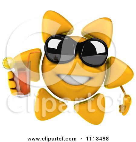 Clipart 3d Sun Character With Shades And Tea 2 - Royalty Free CGI Illustration by Julos