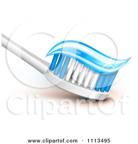 Clipart 3d Tooth Brush With Sparly Blue Gel Paste On The Bristles - Royalty Free Vector Illustration by Oligo