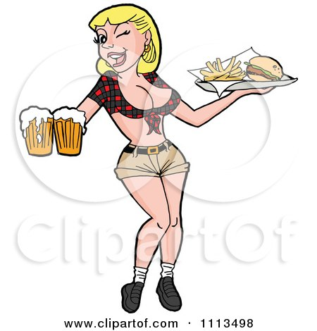Clipart Winking Flirty Blond Breastaurant Waitress In Shorts Carrying Beer And Fries - Royalty Free Vector Illustration by LaffToon