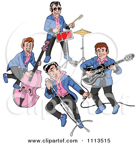 Clipart Retro Rockabilly Music Band Singing And Playing The Bass Drums And Guitar - Royalty Free Vector Illustration by LaffToon