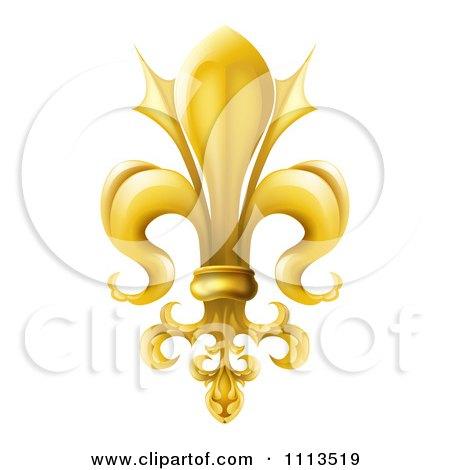 3d Ornate Gold Fleur De Lis Lily Symbol Posters, Art Prints