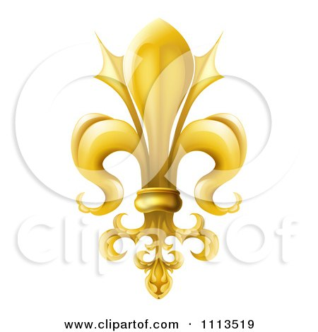 Clipart 3d Ornate Gold Fleur De Lis Lily Symbol - Royalty Free Vector Illustration by AtStockIllustration