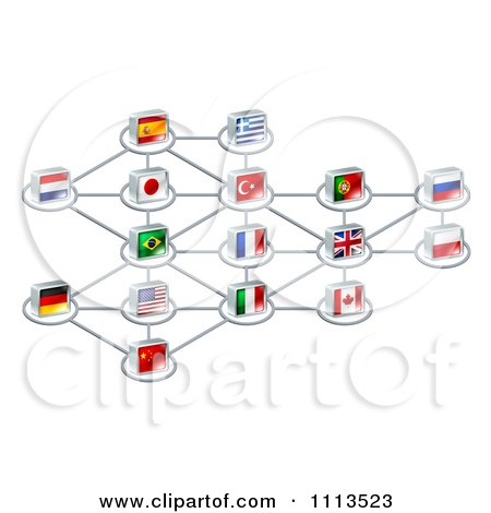 Clipart Network Of 3d National Flags - Royalty Free Vector Illustration by AtStockIllustration
