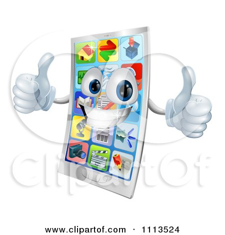 Clipart 3d Cell Phone Mascot Holding Two Thumbs Up - Royalty Free Vector Illustration by AtStockIllustration