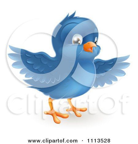 Clipart Cute Bluebird With Open Wings - Royalty Free Vector Illustration by AtStockIllustration