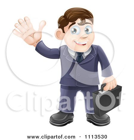 Clipart Friendly Businessman Waving And Carrying A Briefcase - Royalty Free Vector Illustration by AtStockIllustration