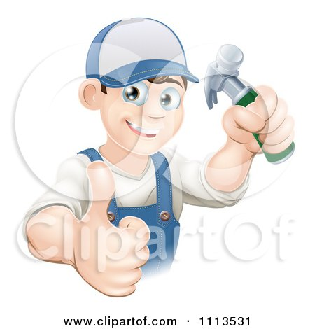 Happy Handy Man Holding A Hammer And Thumb Up Posters, Art Prints