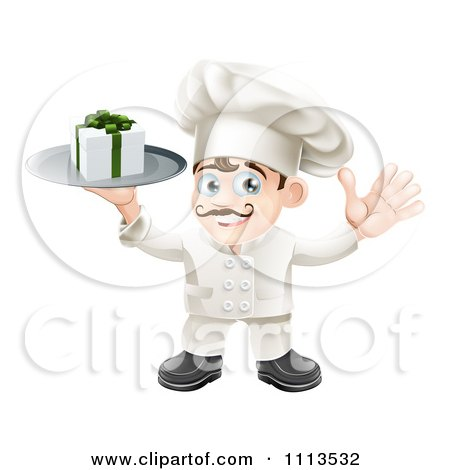 Clipart Happy Chef Holding A Gift Box On A Platter - Royalty Free Vector Illustration by AtStockIllustration