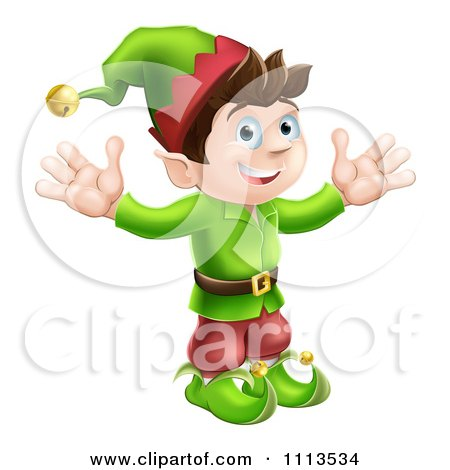 Clipart Happy Male Christmas Elf With Open Arms - Royalty Free Vector Illustration by AtStockIllustration