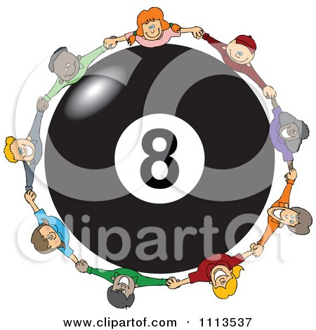 Clipart Diverse Happy Children Holding Hands Around A Billiards 8 Ball - Royalty Free Vector Illustration by djart