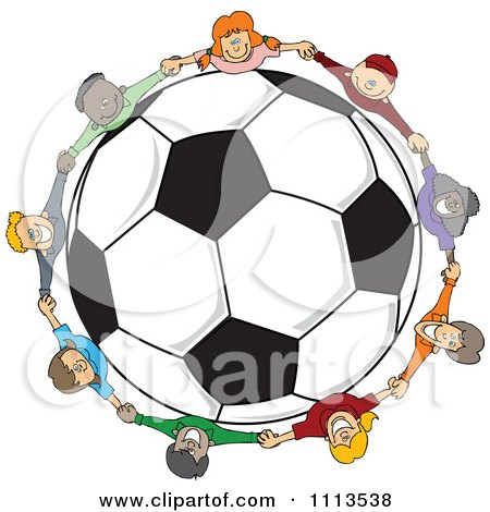 Clipart Diverse Children Holding Hands Around A Soccer Ball - Royalty Free Vector Illustration by djart