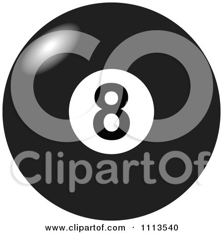 Clipart Light Shining Off Of A Black And White Billiards 8 Ball - Royalty Free Vector Illustration by djart