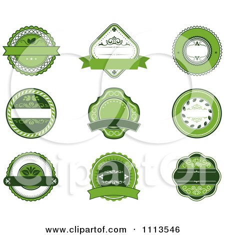 Clipart Green Organic Natural Labels - Royalty Free Vector Illustration by Vector Tradition SM