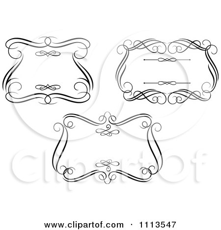Clipart Ornate Black And White Swirl Frames 2 - Royalty Free Vector Illustration by Vector Tradition SM