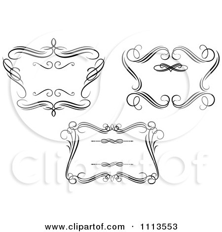 Clipart Ornate Black And White Swirl Frames 1 - Royalty Free Vector Illustration by Vector Tradition SM