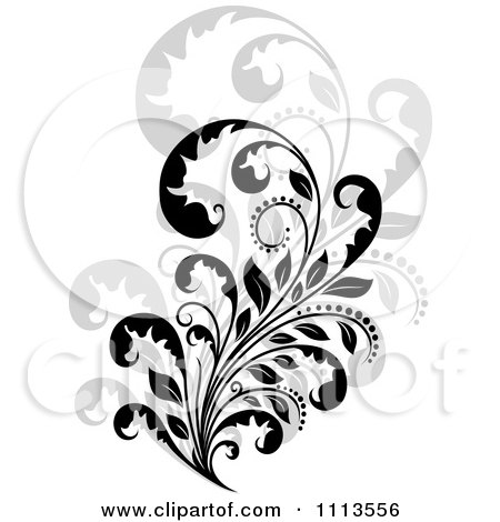 Clipart Black Floral Scroll Over Gray 2 - Royalty Free Vector Illustration by Vector Tradition SM