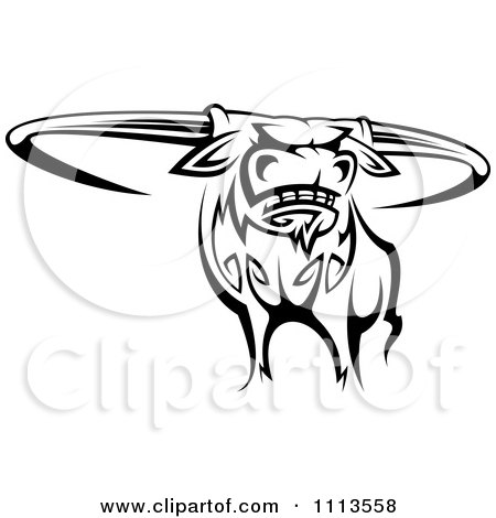 Poster, Art Print: Black And White Tribal Texas Longhorn Steer Bull 1