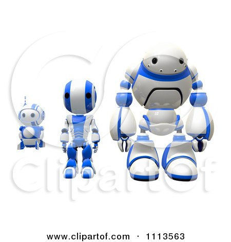 Clipart 3d Blueberry Ao Maru And Rogi Robots Standing Facing Front - Royalty Free CGI Illustration by Leo Blanchette