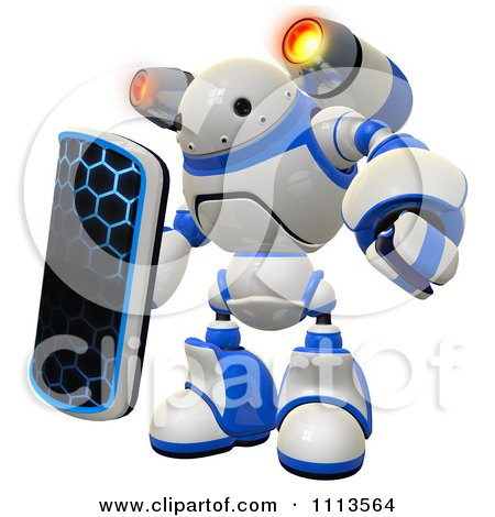 Clipart 3d Rogi Robot Facing With A Shield And Jet Pack 2 - Royalty Free CGI Illustration by Leo Blanchette