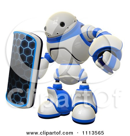 Clipart 3d Rogi Robot With A Shield - Royalty Free CGI Illustration by Leo Blanchette
