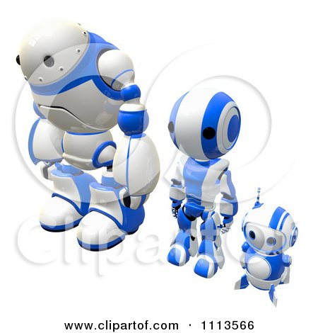 Clipart 3d Blueberry Ao Maru And Rogi Robots Standing Alert - Royalty Free CGI Illustration by Leo Blanchette
