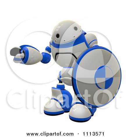 Clipart 3d Rogi Robot Holding A Shield 2 - Royalty Free CGI Illustration by Leo Blanchette