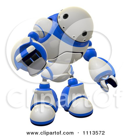 Clipart 3d Rogi Robot Reaching Out To Grab 1 - Royalty Free CGI Illustration by Leo Blanchette