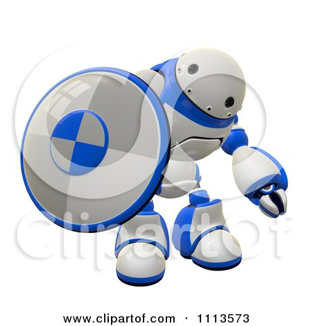 Clipart 3d Rogi Robot Holding A Shield 1 - Royalty Free CGI Illustration by Leo Blanchette