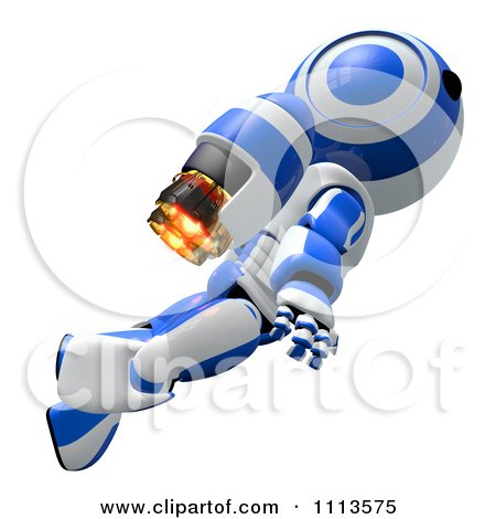 Clipart 3d Ao Maru Robot Flying With A Jet Pack 1 - Royalty Free CGI Illustration by Leo Blanchette