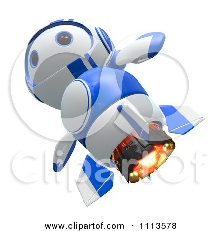 Clipart 3d Blueberry Rocket Robot Flying - Royalty Free CGI Illustration by Leo Blanchette