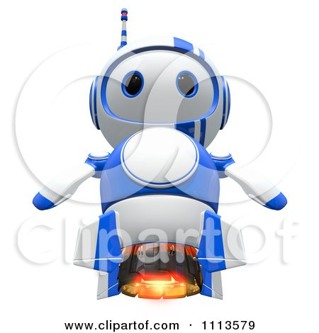 Clipart 3d Blueberry Rocket Robot - Royalty Free CGI Illustration by Leo Blanchette