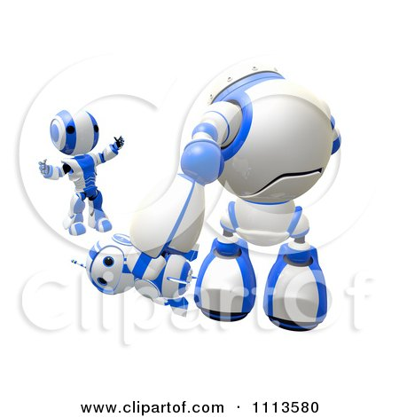 Clipart 3d Ao Maru Shouting At A Bully Bot Beating Up A Blueberry Robot- Royalty Free CGI Illustration by Leo Blanchette