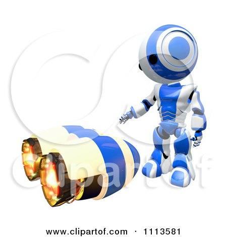 Clipart 3d Ao Maru Robot Standing Over A Jet Pack - Royalty Free CGI Illustration by Leo Blanchette