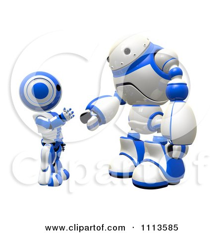 Clipart 3d Rogi Robot And Ao Maru Shaking Hands - Royalty Free CGI Illustration by Leo Blanchette