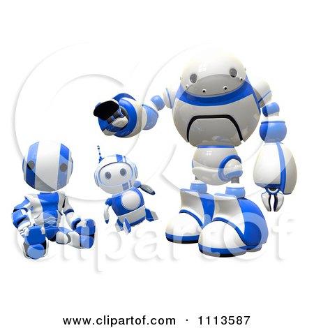 Clipart 3d Blueberry Ao Maru And Rogi Robots Posing - Royalty Free CGI Illustration by Leo Blanchette