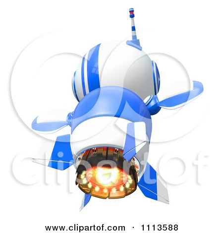 Clipart 3d Blueberry Rocket Robot Flying From Behind - Royalty Free CGI Illustration by Leo Blanchette