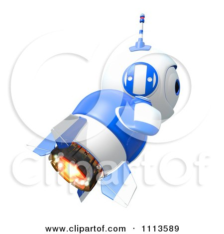 Clipart 3d Blueberry Rocket Robot Flying In Profile - Royalty Free CGI Illustration by Leo Blanchette
