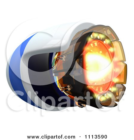 Clipart 3d Rocket Engine With Flames - Royalty Free CGI Illustration by Leo Blanchette