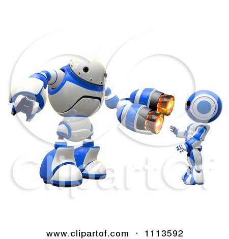 Clipart 3d Rogi Robot Aggressively Pointing A Weapon At Another - Royalty Free CGI Illustration by Leo Blanchette