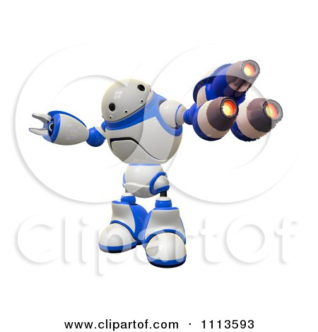 Clipart 3d Rogi Robot Facing With A Blaster Arm - Royalty Free CGI Illustration by Leo Blanchette