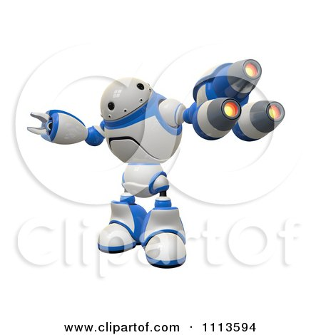 Clipart 3d Rogi Robot Facing With A Blaster Gun Arm - Royalty Free CGI Illustration by Leo Blanchette