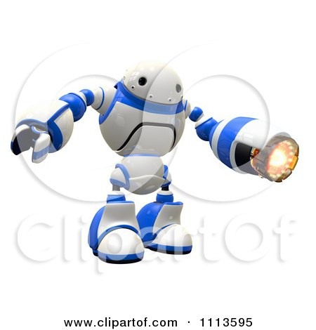Clipart 3d Rogi Robot Facing With A Flame Thrower Arm - Royalty Free CGI Illustration by Leo Blanchette