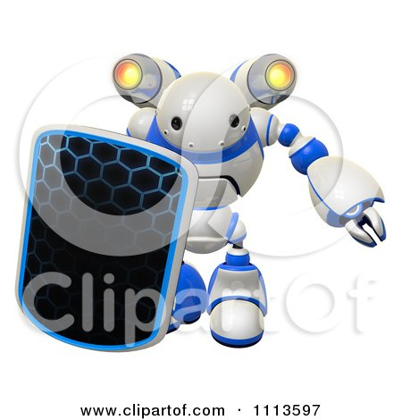 Clipart 3d Rogi Robot Facing With A Shield And Jet Pack 1 - Royalty Free CGI Illustration by Leo Blanchette