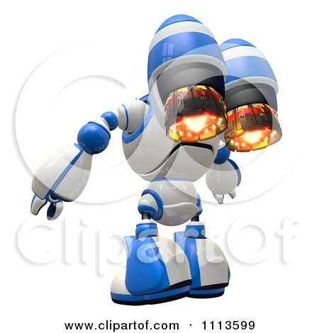 Clipart 3d Rogi Robot With A Jet Pack 2 - Royalty Free CGI Illustration by Leo Blanchette