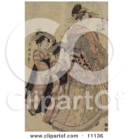 The Asian Courtesian Somenosuke With Two Attendants Clipart Picture