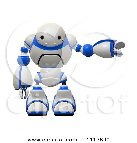 Clipart 3d Rogi Robot Facing Pointing Right - Royalty Free CGI Illustration by Leo Blanchette