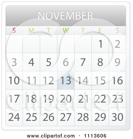 Clipart November Month Calendar - Royalty Free Vector Illustration by Andrei Marincas