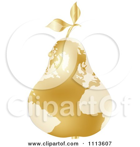 Clipart Gold Map Pear With A Dew Drop - Royalty Free Vector Illustration by Andrei Marincas