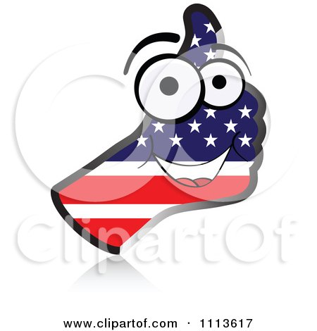 Clipart American Flag Hand Thumb Up - Royalty Free Vector Illustration by Andrei Marincas