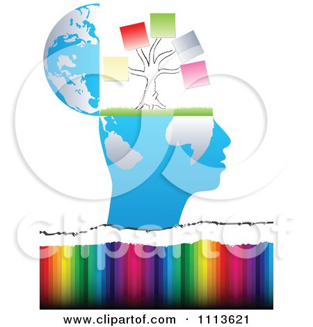 Clipart Profiled Head Globe Open With A Memo Tree Over Colors - Royalty Free Vector Illustration by Andrei Marincas